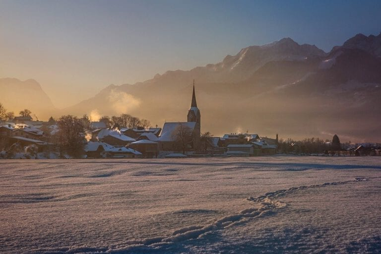 Winter landscape with a view of The Hotel Kirchenwirt in Puch near Salzburg, Austria