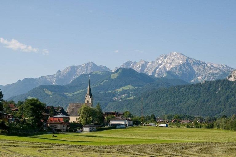 Summer landscape with a view of The Hotel Kirchenwirt in Puch near Salzburg, Austria